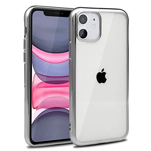 Hoes voor iPhone 11, bumper, zacht, buigzaam, TPU-achterkant, doorzichtig, beschermhoes, gel siliconen, telefoonhoes iPhone 11, zilveren lijst