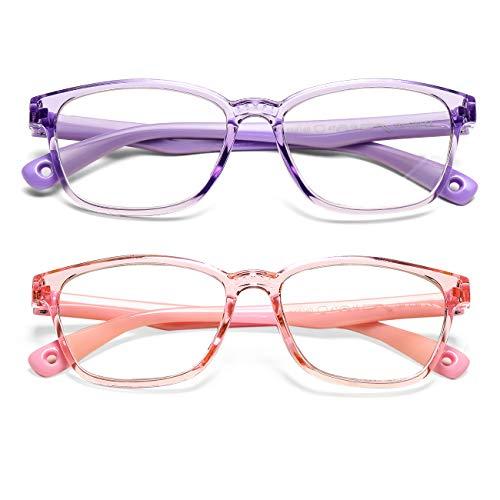 AZORB Kids Blue Light Blocking Glasses, 2 Pack Soft TR Frames Anti Eye Strain Eyewear for Boys Girls Age 3-12 -(Transparent Pink+ Transparent Purple)