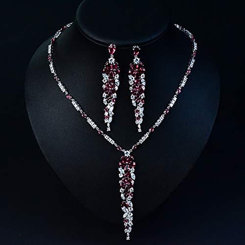 Z-Jewellery Sets@ Donna Parure Gioielli Matrimonio Nuziale Zirconi Multi Lacrima Grappolo Collana Ciondolano Orecchini Set