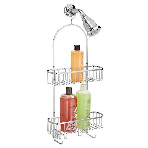 mDesign Duschablage zum Hängen - praktisches Duschregal aus poliertem Edelstahl - ohne Bohren zu montieren - Extragroße Duschkörbe mit integrierten Haken