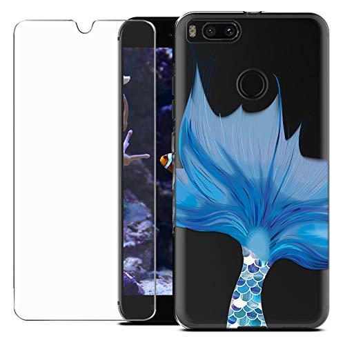 MadBee Funda para Xiaomi Mi A1 / Mi 5X [con Protector Pantalla],Transparente Carcasa Silicona Ultra Fina Suave TPU Gel Bumper Case Protección con Dibujos Shell Cover (Pez)