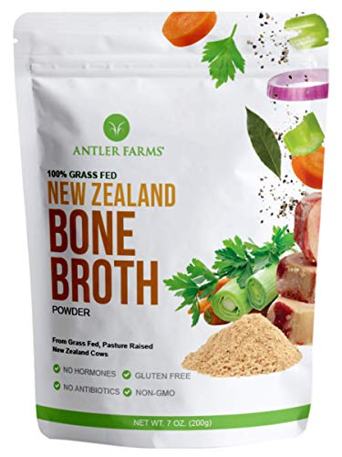 Antler Farms - 100% Grass Fed New Zealand Bone Broth Powder, 40 Servings, 200g - Slow Cooked, Gently Dried, Rich Flavor, No Hormones, No Antibiotics, No GMOs