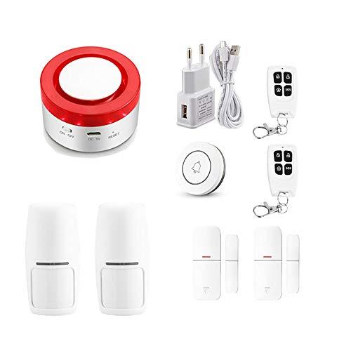 allarme casa senza fili Tuya Smart antifurto WiFi Sistema di allarme di sicurezza domestica 433MHz Allarme sirena stroboscopica wireless compatibile con Alexa Google Home APP samrt life (KIT 2)