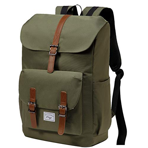 Backpack for Men, KASGO Water Resistant 15.6 inch Laptop Rucksack Vintage School Bookbag Casual Daypack for Women Teenagers College Travel Work Hiking Dark Green