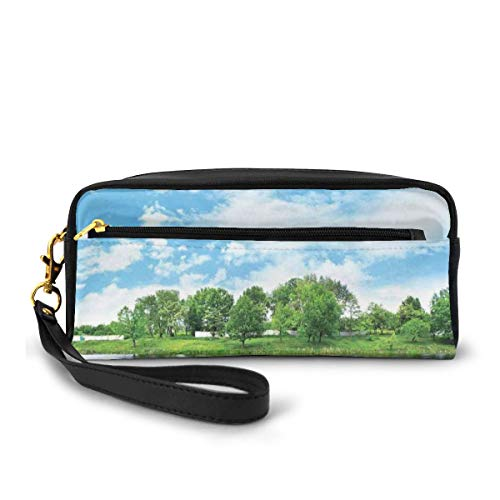 Pencil Case Pen Bag Pouch Stationary,Photo Taken from A Wooden Dock Towards The Sea and Forest Sky Calm Lake Print,Small Makeup Bag Coin Purse