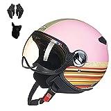 YAYT Casques de Moto pour Hommes et Femmes Adultes, Multicolores en Option avec des Gants Masque Facial 3/4 Casquette rétro Casque Cruiser Scooter hélicoptère approuvé Dot/ECE (57-64cm)