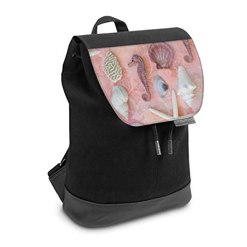 Rucksack mit Lasche 30 cm x 20 cm Daypack für Damen & Herren Tasche mit Design Strand Seepferdchen Muschel