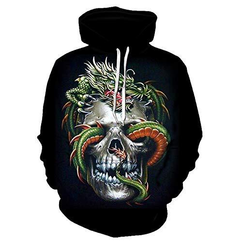 Pullover hoodies Unisex paar 3D draken en schedel afbeelding gedrukt mannen vrouwen lange mouwen sweatshirts uniform jumper outdoor vrije tijd hip hop