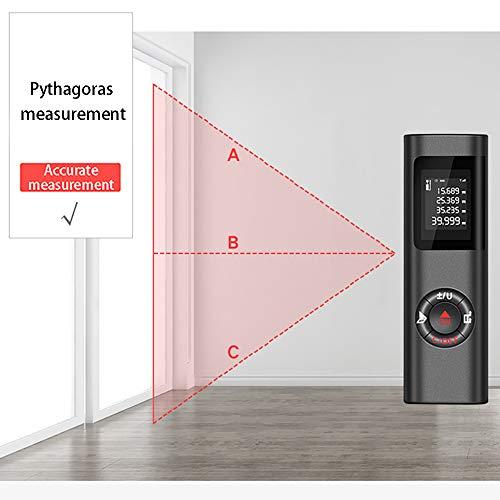 Afstandmeter, ABEDOE digitale mini-afstandsmeter, oplaadbare USB-LCD-achtergrondverlichtingsmeter, meetbereik 40,0 m/± 0,5 mm met m/in/ft