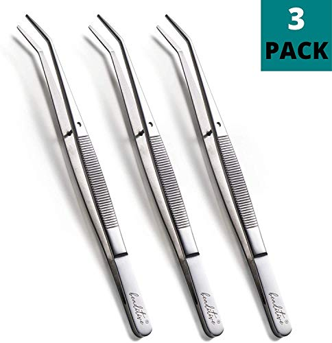 Beaditive 6-inch Sewing Machine Tweezers Set (3-pc) Serrated Bent Tips | Professional Grade, High Precision | Stainless Steel