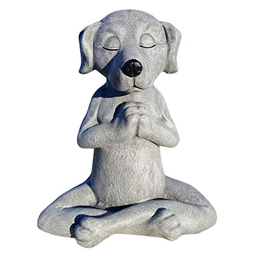 Dog Buddha, Meditation Dog Statue-Yoga Dog Garden Decoration, Spring Home Decoratio Relaxing Meditating Dog Decorative Tabletop Figurine Dog Statue Zen Yoga Relaxed Pose Buddha (A)