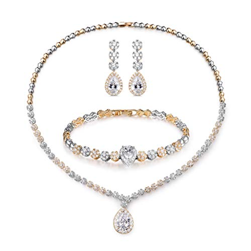 Shuxin Wedding Jewellery Set for Women, Necklace Dangle Earrings Bracelet Set, White Gold Plated & Yellow Gold Plated Jewelry Set with White AAA Cubic Zirconia, Allergy Free Wedding Party Jewellery