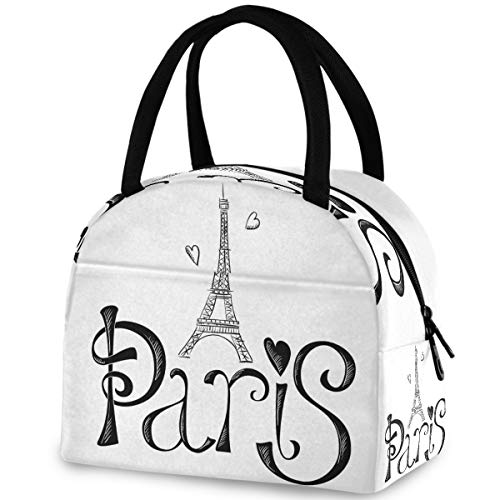 ZzWwR Stylish Paris Eiffel Tower Hearts Reusable Lunch Tote Bag with Front Pocket Zipper Closure Insulated Thermal Cooler Container Bag for Work Picnic Travel Beach Fishing