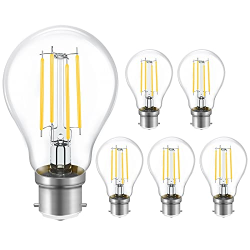 B22 Light Bulbs Bayonet 60W Equivalent, 8W 800lm BC A60 GLS Energy Saving Lightbulbs, 2700K Warm White, Retro Glass LED Filament Bulb, 360° Beam Angle, Pack of 6