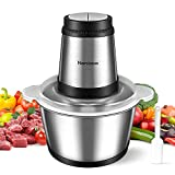 Narcissus Electric Meat Grinder, 400W Professional Food Processor Chopper for Meat Vegetable, 8-Cup 2L Capacity Stainless Steel Bowl, Super Power for Quick Chopping and Mixing, with a Scraper