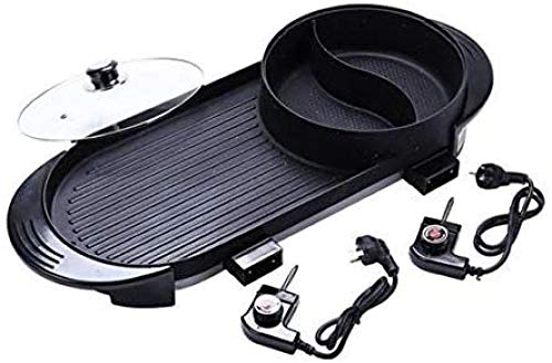 YAYY Multifunctionele Elektrische Hot Pot Dubbele ring Verwarming Barbecue Pot Non-stick Elektrische Kookplaat Elektrische Oven Elektrische barbecue (Upgrade)