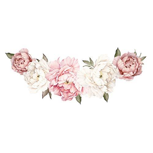 Garneck Abnehmbarer Wandaufkleber Große Blumen Pfingstrose Rose Blumen Wasserdichter Wandaufkleber Hintergrund für Schlafzimmer Dekoration Aufkleber Blume Wohnzimmer