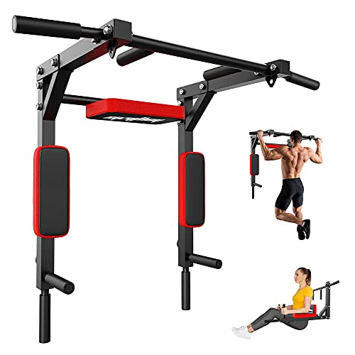 syzythoy Multifunctional Wall Mounted Pull Up Bar Chin Up bar,Dip Station for Home Gym,Indoor Workout,Support to 440Lbs