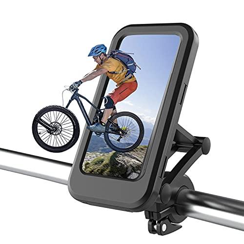 porta cellulare da bici SPRIME porta cellulare moto e corsa impermeabile,rotazione a 360,Regolazione altezza,touch screen,Adsorbimento magnetico accessori moto per a tutti smartphone entro 6,7' (T1)