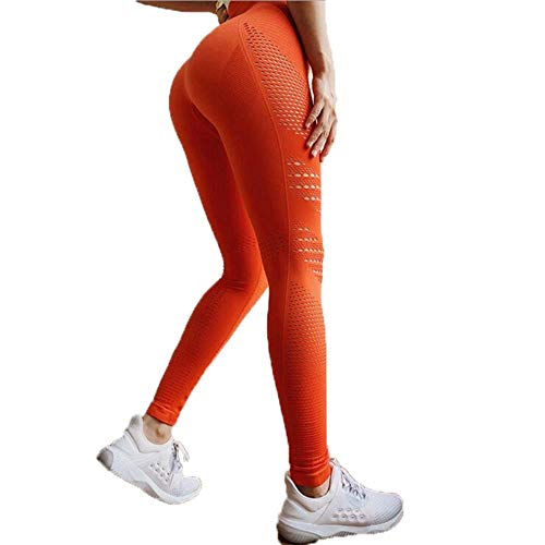 HPPL Naadloze Tummy Control Yogabroek Stretchy Hoge Taille Compressie Panty Sportbroek Push Up Running Dames Gym Fitness Leggings, Oranje, S