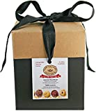 black and kraft gift box of assorted shortbread cookies