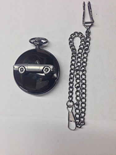 Sunbeam Alpine Mk2 ref241 emblema efecto peltre negro pulido para hombre, reloj de bolsillo de cuarzo fabricado en Sheffield