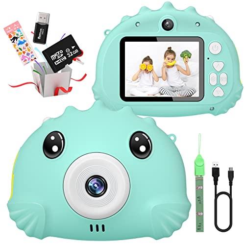 Gofunly Kinderkamera, Digitalkamera Kinder mit 2,4 Zoll Bildschirm 1080P HD 20MP Eingebaute 32GB SD-Karte Selfie Kamera Fotoapparat Kinder für 3-12 Jahre Alter Geburtstagsgeschenk Kinder Spielzeug