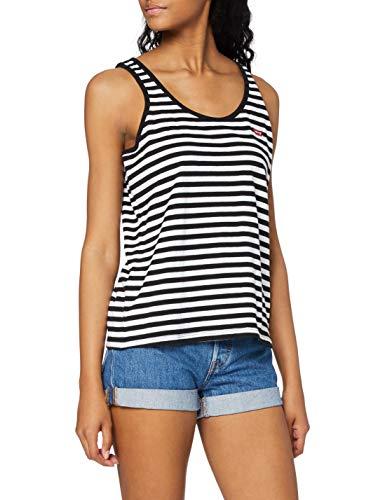Levi\'s Essential Tank Camiseta Deportiva de Tirantes, Liza Mineral Black/White+, L para Mujer