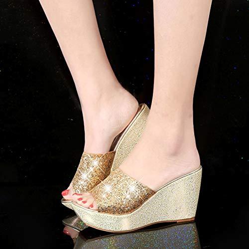 Qsy shoe Pantoufles compensées pour Femmes, Sandales à Plateforme et Pantoufles Chaussures antidérapantes avec Talons et Chaussures de Sport décontractées, doré, 37