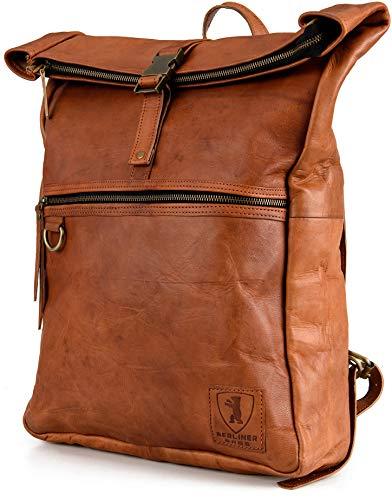 Berliner Bags Utrecht XL Kurierrucksack mit Laptopfach Rucksack aus Leder Fahrradrucksack Trekkingrucksack Damen Herren