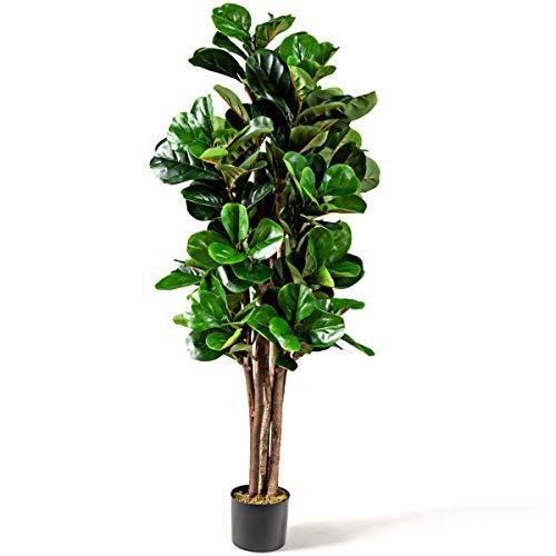 GOPLUS 1,5m Zimmerpflanze im Topf, Kunstpflanze mit 180 Blättern und 6 Stämmen, Echtholzstamm, Kunstbaum, Geigen-Feige, Dekopflanze für Indoor und Outdoor