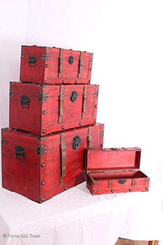 Firma BiG Trade Truhen SET 4 teilig/China Truhen/Tibet/Schöne Flachdeckeltruhen Hochzeittruhen Wäschetruhen/Antik Style/Retro Wooden ChestsDekokoffer/Dekotruhe/Telefonhocker