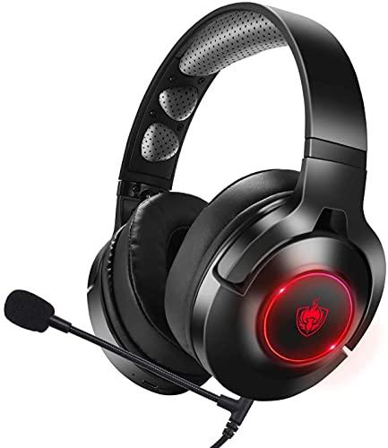 PHOINIKAS Gaming Headset Mit Mikrofon für PC PS5 PS4 Switch Xbox Series,7.1 Bass Surround Sound Gaming Headset Mit Kabel Und Led,Noise Canceling Drehbar Ear Cups Bluetooth KopfhöRer für Musik -Rot Q9