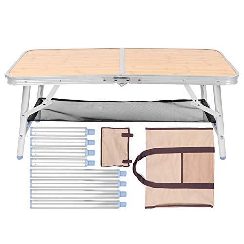 KAKAKE Mesa de aleación de Aluminio, Mesa Plegable para Exteriores Plegable Fuerte y Resistente con Bolsa de Transporte para Picnic