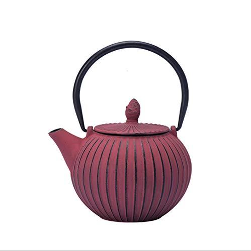 Household teapot, Teapot Cast Iron Stove Kettle Red 700ML Office Make Teapot Home Tea Maker Handmade Gift for Women Men