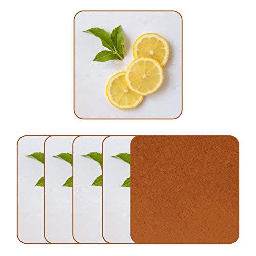 Posavasos de cuero para bebidas frescas de limón con impresión de rodajas de taza cuadrada para proteger muebles, resistente al calor, decoración de bar de cocina, juego de 6