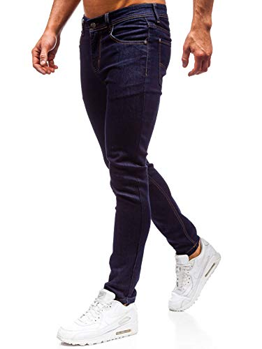 BOLF Hombre Pantalón Vequero Denim Regular Pantalón de Algodón Estilo Urbano 6F6