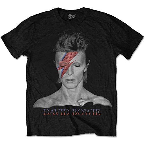 Rockoff Trade Herren David Bowie Aladdin Sane T-Shirt, Schwarz, L