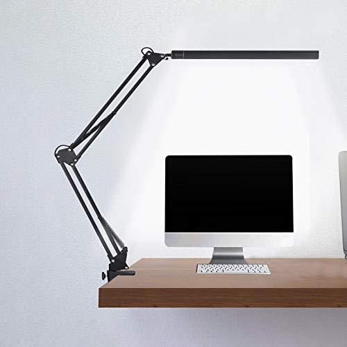 Lampada da Scrivania, Lampada da Tavolo da Ufficio da 14W con 3 Temperature di Colore e 10 Livelli di Luminosità, Lampada da Scrivania a Led Dimmerabile con Braccio Orientabile per Lavorare, Imparare
