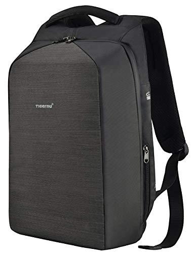 Tigernu 15,6 Zoll Business Laptop Rucksack mit Schloss und USB Ladeanschluss Diebstahlschutztasche aus Leder und Nylon