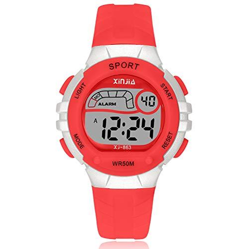 Reloj Digital para Niña Niño,Chicos Chicas 50M(5ATM) Impermeabl Deportes al Aire Libre LED Multifuncionales Relojes de Pulsera con Alarma para Niños,Niñas (Rojo)
