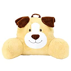 Yellow and brown Adorable Dog Reading Cushion, Lightweight and Portable Dog Bed Rest Pillow, Perfect for Ages 2+