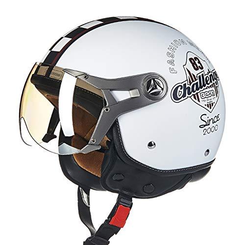 BEON Motorrad Halber Helm -100B MäNner Und Frauen Vier Jahreszeiten Jet Helm ABS BelüFtung Anti-Fog-Linse Motorradhelm FüR Harley,WhiteB-XL(57-60cm)