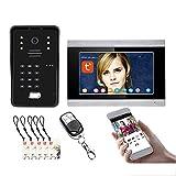Timbre de video Tuya Wifi, cámara de visión nocturna + monitor, sistema de videoportero de 7 pulgadas, intercomunicador, desbloqueo de APP remota con contraseña