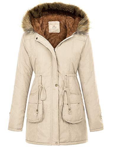 GRACE KARIN Women's Winter Thicken Jacket Hooded Parka Coat Outwear S Apricot