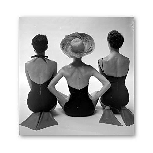 Vrouw Posing Prints Badpakken Zwart en Wit Oude Fotografie Vintage Mode Poster Canvas Schilderij Badkamer Thuis Muur Decor-50x50cm-Geen Frame