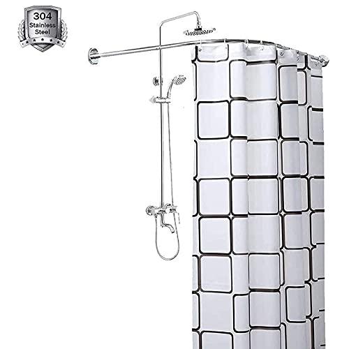 Shower curtain rod L Shaped Curved, No Drilling For Bathroom Bathtub Corner Adjustable Extendable Bath Curtain Rail Tub Decorative