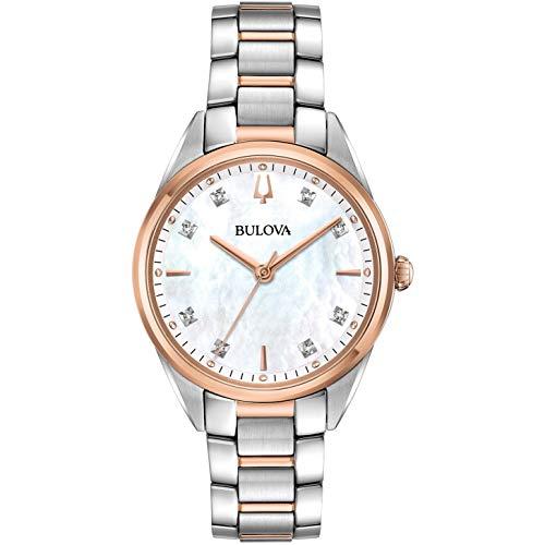 Bulova Reloj Analógico para Mujer de Cuarzo con Correa en Acero Inoxidable 98P183