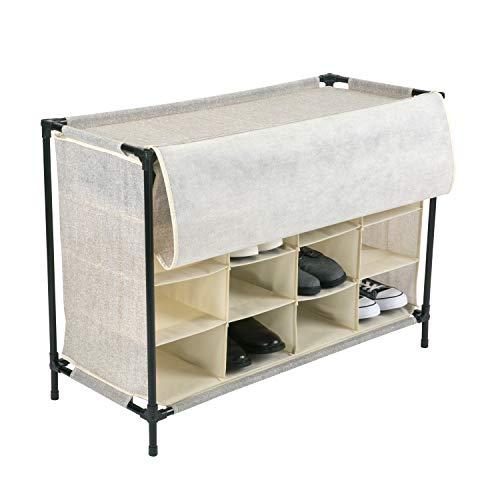 Simplify Organizador de zapatos apilable con funda para armario, dormitorio y entrada, 16 pares, color beige