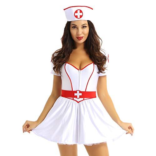 FEESHOW Frauen Sexy Krankenschwester Uniform Cosplay Nurse Kostüm Tiefer V Ausschnitt Minikleid Babydolls Lingerie Sets Weiß Large